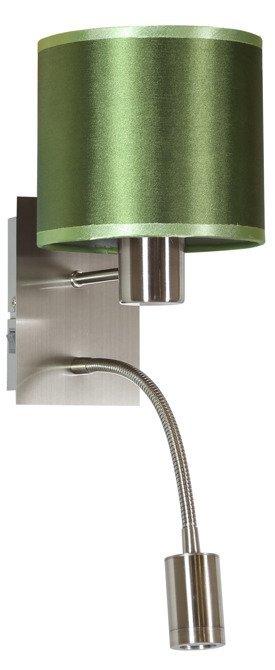 LAMPA ŚCIENNA KINKIET CANDELLUX SYLWANA 21-29294  E14 + LED Z WYŁĄCZNIKIEM CHROM / ZIELONY CIEMNY