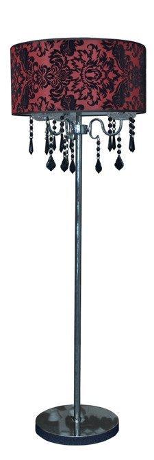 Lampa podłogowa czerwony welurowy abażur 3x40W Astor Candellux 53-80465