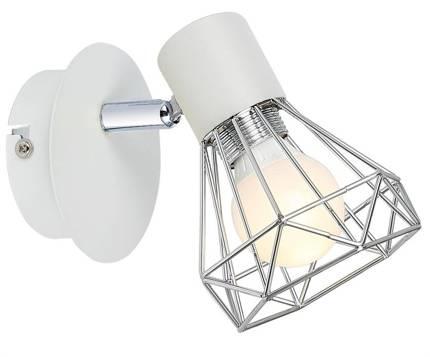 Lampa ścienna kinkiet 1X40W E14 biały abażur chrom VERVE 91-61331