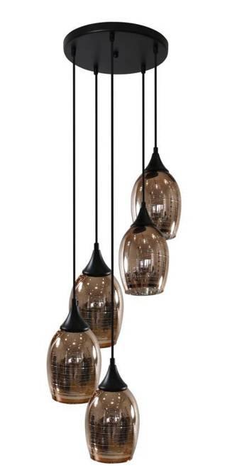 Lampa sufitowa wisząca miedziana talerz czarny 5x60W Marina Candellux 35-51639