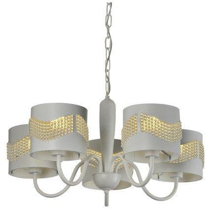 Lampa wisząca biała z koralikami żyrandol 5x60W Antonio Candellux 35-23001