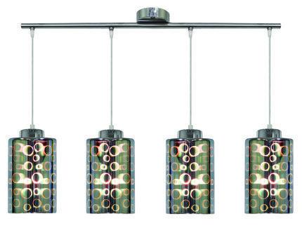 Lampa wisząca listwa chrom klosz szklany 3D 4x40W Nocturno Candellux 34-57723