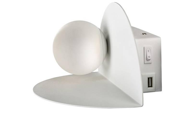Kinkiet biały LED 4W 4000K ładowarka USB z półką Zenit Candellux 21-76038