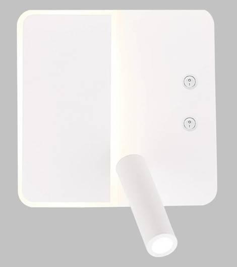 Kinkiet biały LED 6W z regulowaną lampką do czytania Alma Candellux 22-75994