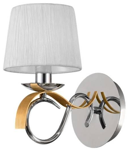 Kinkiet chrom + złoty abażur biały tkany 40W E14 Candellux Denis 21-23643
