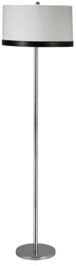 Lampa podłogowa chromowa abażur z płótna i skóry Tida Candellux 51-31320