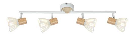 Lampa ścienna listwa 4X25W E14 biały/drewno CHILE 94-61645