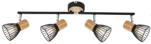 Lampa ścienna listwa 4X25W E14 czarny/drewno ANTICA 94-61201