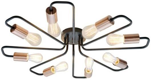 Lampa sufitowa czarna metalowa oprawka 8x60W Herpe Candellux 38-66947