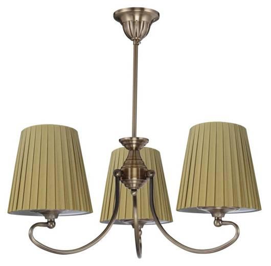 Lampa sufitowa patynowa miodowy abażur z tkaniny 3X60W Mozart Candellux 33-33970