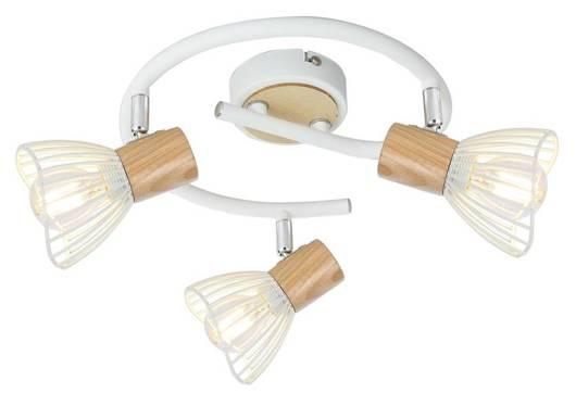 Lampa sufitowa spirala 3X25W E14 biały drewno CHILE 98-61652