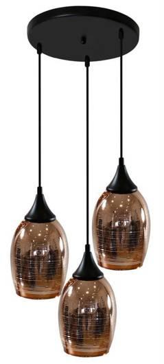 Lampa wisząca czarno-miedziana lustrzane klosze 3x60W Marina Candellux 33-51608