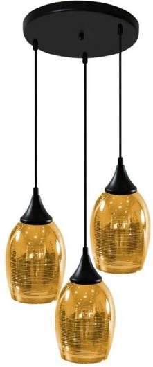 Lampa wisząca czarno-złota lustrzane klosze 3x60W Marina Candellux 33-58010
