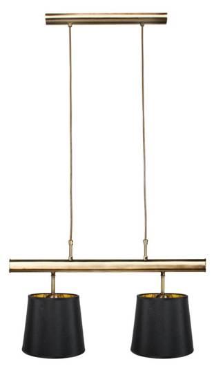 Lampa wisząca patyna podwójna czarny abażur 2x60W Milonga Candellu 32-53558