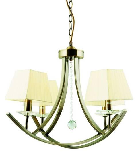 Lampa wisząca patyna żyrandol abażur organza 4x40W Valencia Candellux 34-84555