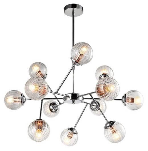 Lampa wisząca sufitowa chrom szklane klosze 12x40W Best Candellux 30-64806