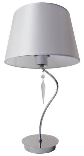 Lampka stołowa gabinetowa chromowa + biały abażur Ansa Candellux 41-40527